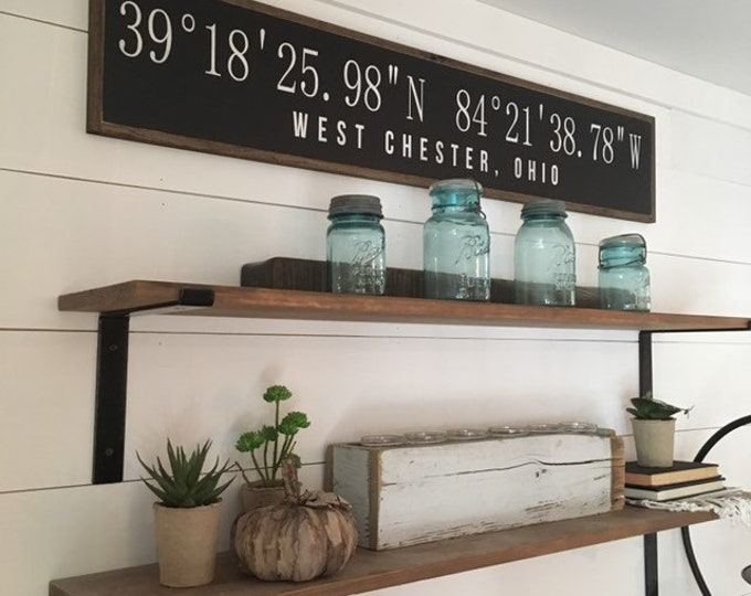 "LATITUDE LONGITUDE coordinates personalized with City and State 9""X48"" sign 