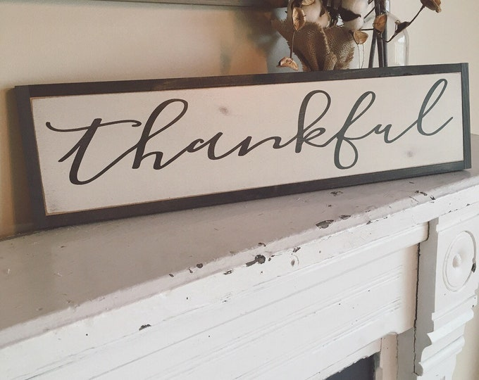 "THANKFUL sign 6""X24"" 