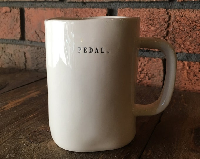 RAE DUNN mug | PEDAL. bike large mug | dual-sided | typewriter lettering | cycling cup | cyclist gift | biking pottery
