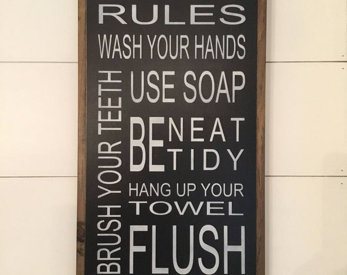 BATHROOM RULES 1'x2' wooden typography sign | painted distressed rustic bathroom decor | shabby chic farmhouse wall art