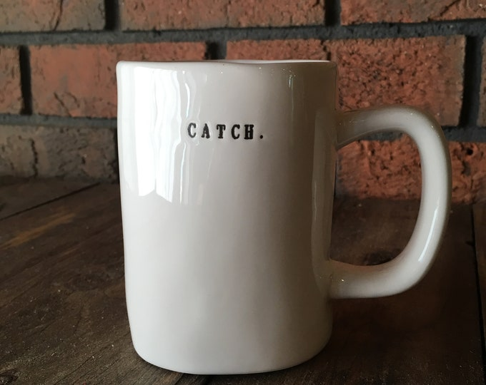 RAE DUNN mug | CATCH. fishing large mug | dual-sided | typewriter lettering | fisherman cup | Christmas gift | fishing net pottery