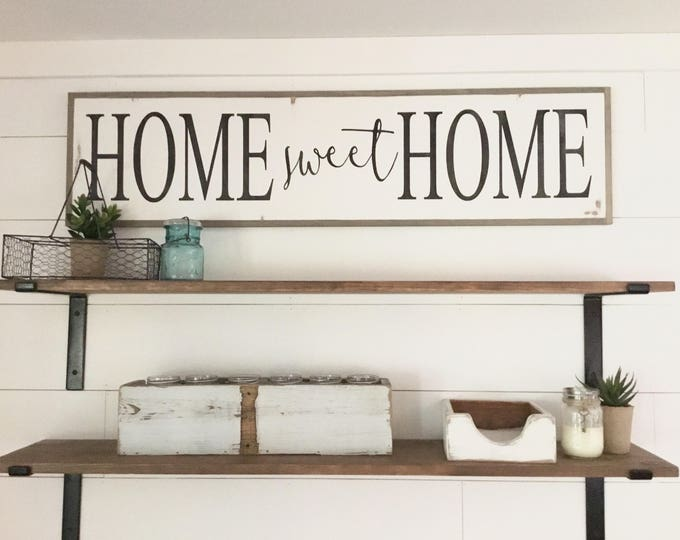 HOME SWEET HOME 1'X4' sign | distressed shabby chic wooden sign | painted wall art | elegant farmhouse decor