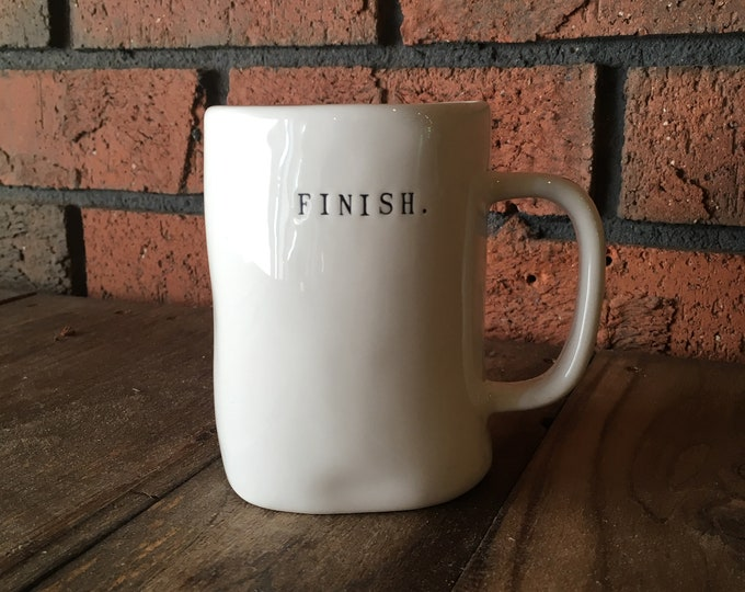 RAE DUNN mug | FINISH. running large mug | dual-sided | typewriter lettering | runners cup | Christmas gift | marathon pottery