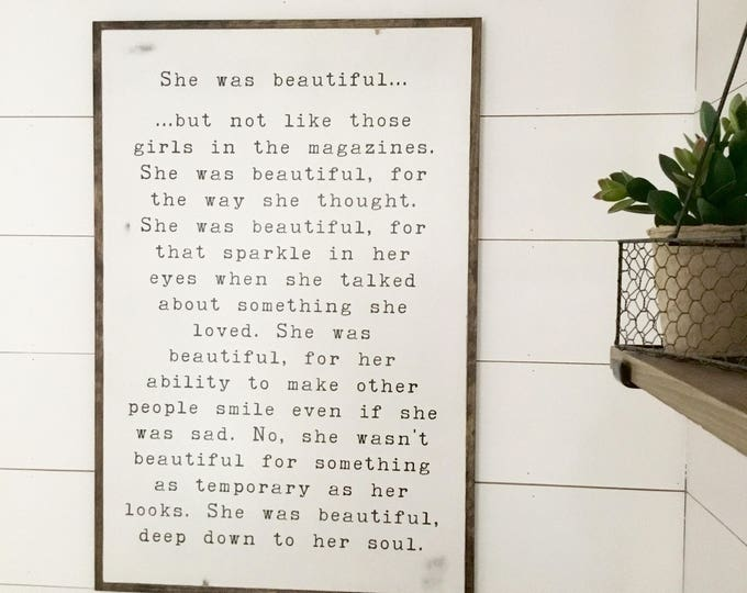 SHE WAS BEAUTIFUL 2X3 | girls sign | modern farmhouse bedroom  | distressed shabby chic plaque | wooden wall decor | quote