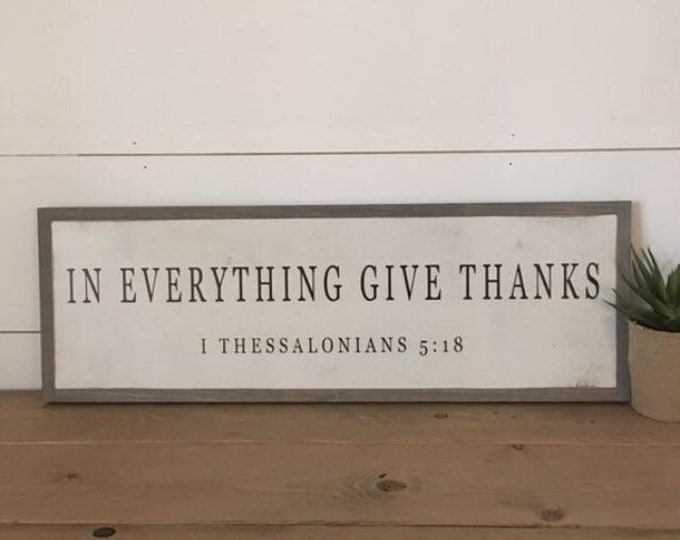 """IN EVERYTHING give thanks 8""""x24"""" sign   framed wooden painted wall art   farmhouse inspired wall decor   shabby chic   coastal beach decor"""