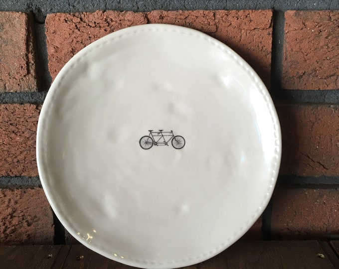 RAE DUNN bike plate (design 4) - dining plate - small dinner plate - pottery - handcrafted