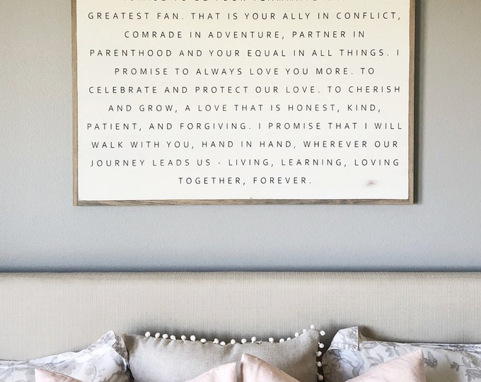 I PROMISE 2'x3' sign   distressed shabby chic painted wooden sign   modern farmhouse painted wall art   wedding anniversary plaque