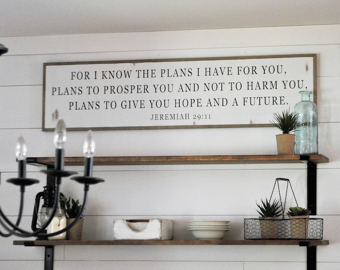 I KNOW THE PLANS I have for you 1'X4' sign | distressed shabby chic painted wooden sign | painted wall art | Jeremiah 29:11