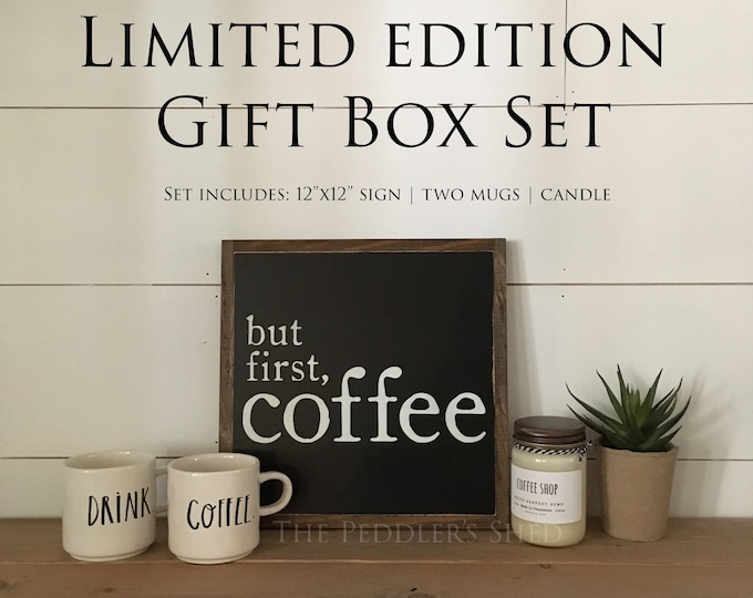 COFFEE LOVERS gift box set - Ready To Ship! | Christmas gift | but first coffee sign | rae dunn mugs | coffeehouse candle | farmhouse decor