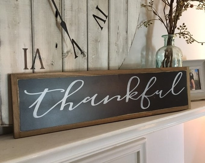 CLEARANCE! Slight Imperfections Sale!  Thankful sign - 50% off regular price - wood grain imperfections