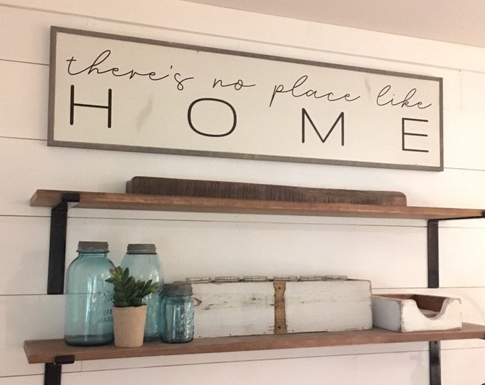 HOME 1'X4' sign | distressed shabby chic painted wooden sign | painted wall art | there's no place like home | entryway plaque | family room