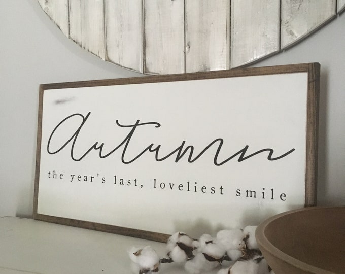 CLEARANCE Slight Imperfection Sale! Autumn sign 1x2 - 50% off regular price - wood grain imperfections