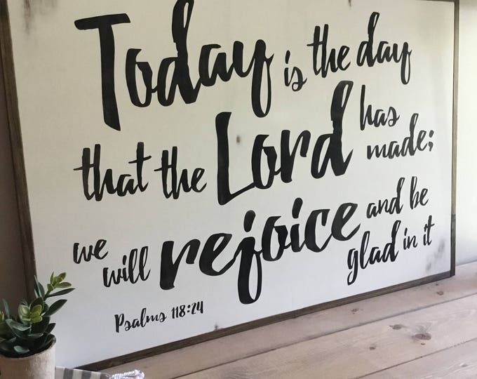 BE GLAD 2'X3' scripture sign | distressed shabby chic painted wooden sign | Psalms 118:24 | painted farmhouse wall art