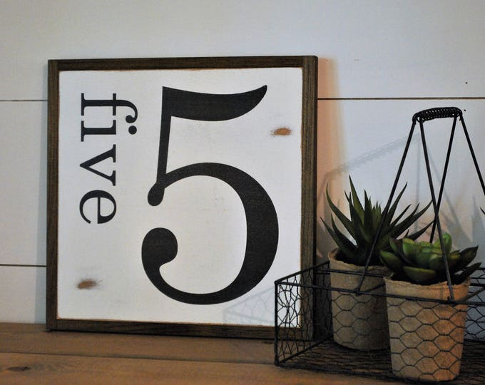 NUMBER sign 1X1 | farmhouse inspired framed wooden sign | distressed shabby chic family number decor | rustic wall art