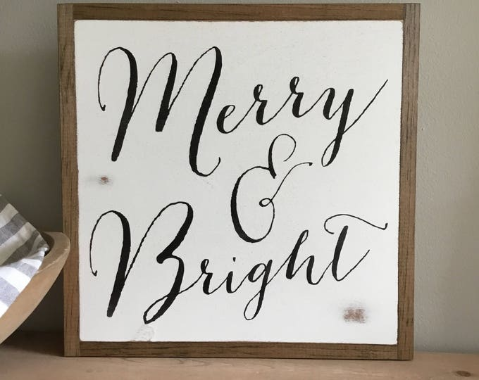MERRY AND BRIGHT 1'X1' sign | distressed wooden sign | farmhouse decor | Christmas framed art | holiday decor | shabby chic Christmas carol