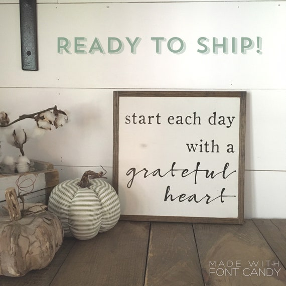 Ready To Ship! GRATEFUL HEART 1'X1' | distressed wooden sign | modern farmhouse decor | autumn fall decor | Thanksgiving | shabby chic