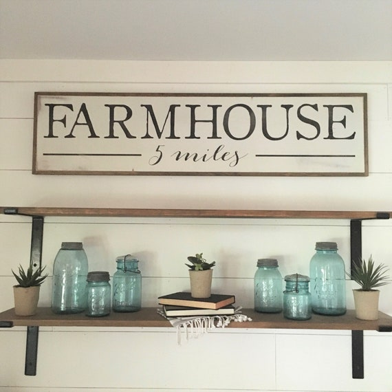 FARMHOUSE 1'X4' sign | distressed shabby chic painted wooden sign | painted wall art | rustic farm décor | wooden plaque