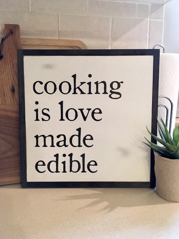 COOKING is love made edible 1'X1' sign | distressed shabby chic painted wooden sign | painted framed wall art | elegant farmhouse decor
