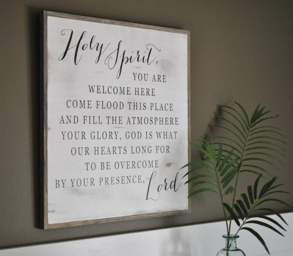 HOLY SPIRIT 2'X2' || Inspirational wall art || distressed shabby chic decor || farmhouse style design || framed wooden plaque