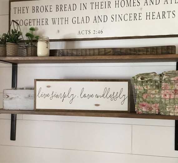 "LIVE SIMPLY love endlessly 8""x24"" sign 