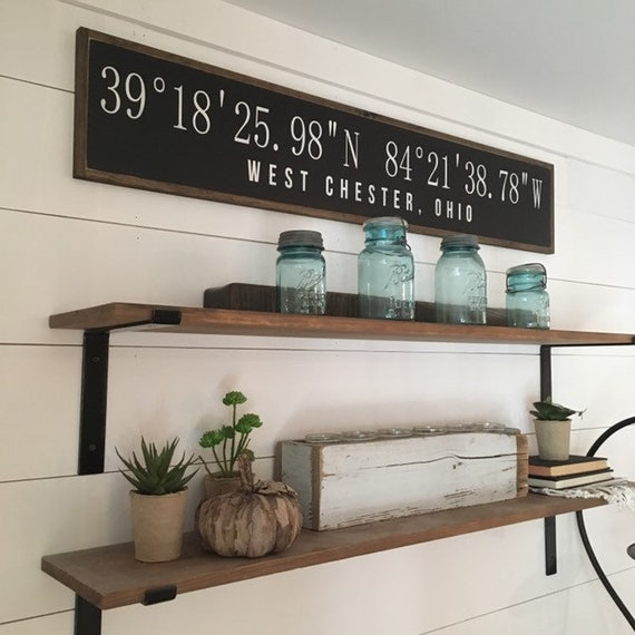 """LATITUDE LONGITUDE coordinates personalized with City and State 9""""X48"""" sign 