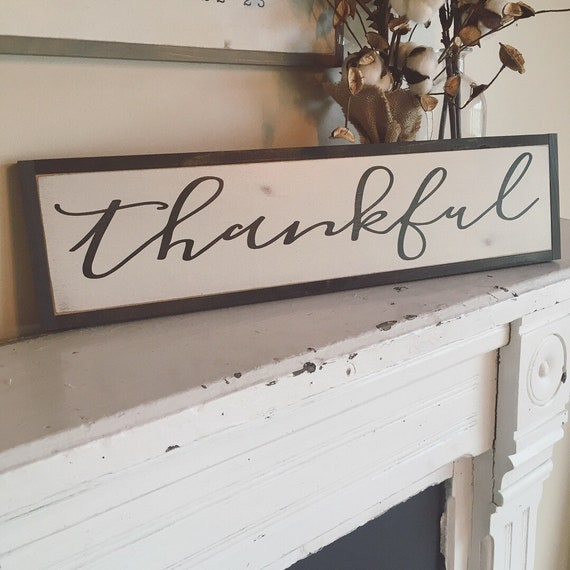 """THANKFUL sign 6""""X24"""" 