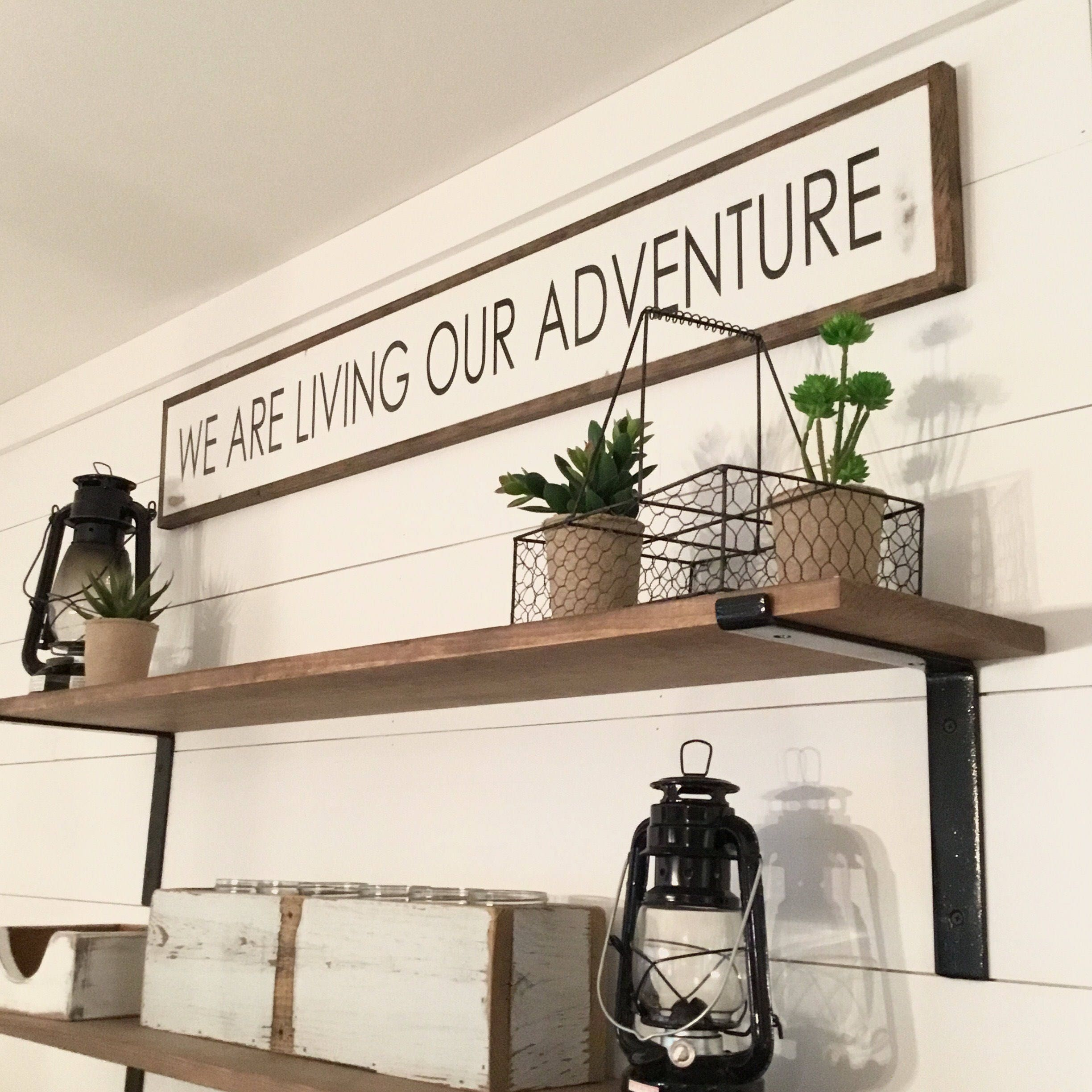 We Are Living Our Adventure 7x48 Sign Distressed Shabby Chic Wooden Sign Painted Wall Art Elegant Farmhouse Decor