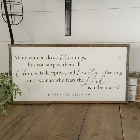 NOBLE THINGS 1'X2' sign | Proverbs 31 woman | distressed rustic wall decor | painted shabby chic wall plaque | inspirational sign