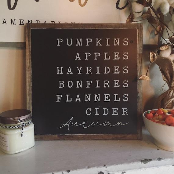 AUTUMN FAVORITES sign 1'X1' | distressed wooden farmhouse decor | Fall decor | pumpkins apples hayrides flannels cider checklist