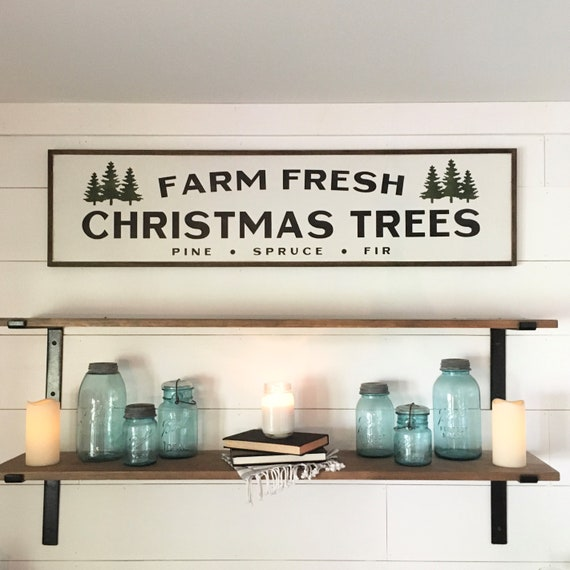 """LIMITED EDITION Farm Fresh Christmas Trees wooden sign   measures 48"""" wide by 12"""" tall   rustic Holiday wall decor   painted framed plaque"""