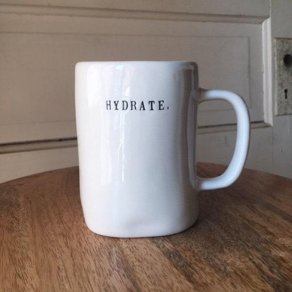 RAE DUNN mug | hydrate. large mug | dual-sided | typewriter lettering | running cup | runner gift