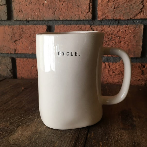 RAE DUNN mug | CYCLE. bike large mug | dual-sided | typewriter lettering | cycling cup | cyclist gift | biking pottery