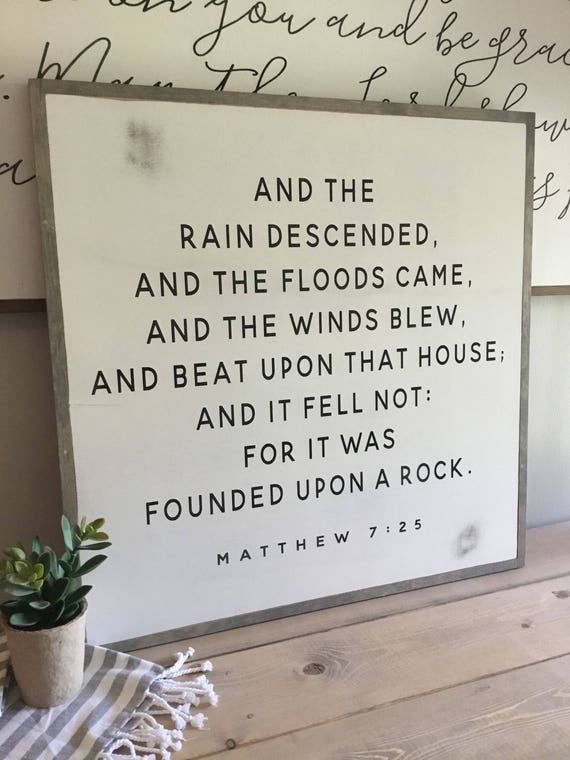 FOUNDED UPON a ROCK 2X2 wooden framed sign | distressed painted wall plaque | shabby chic farmhouse decor | framed wall scripture art