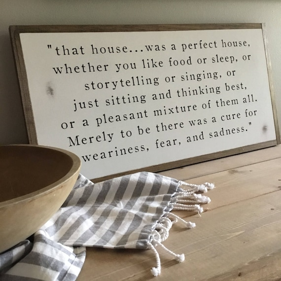 PERFECT HOUSE 1'X2' J.R.R. Tolkien Quote | distressed rustic wall decor | painted shabby chic wall plaque