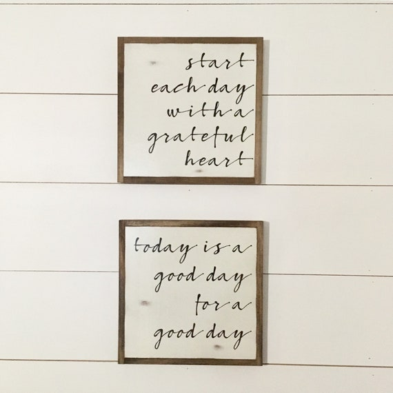 READY TO SHIP! Good Day / Grateful heart set of 2 signs 1'X1' | distressed wooden sign | modern farmhouse decor | autumn fall decor