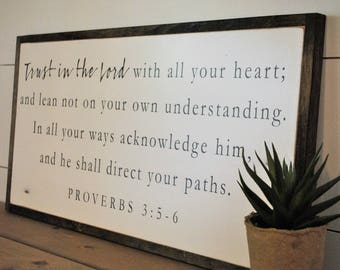 ALL YOUR HEART 1'X2' | Trust in the Lord | scripture biblical wall decor | distressed painted framed wooden sign | farmhouse shabby chic