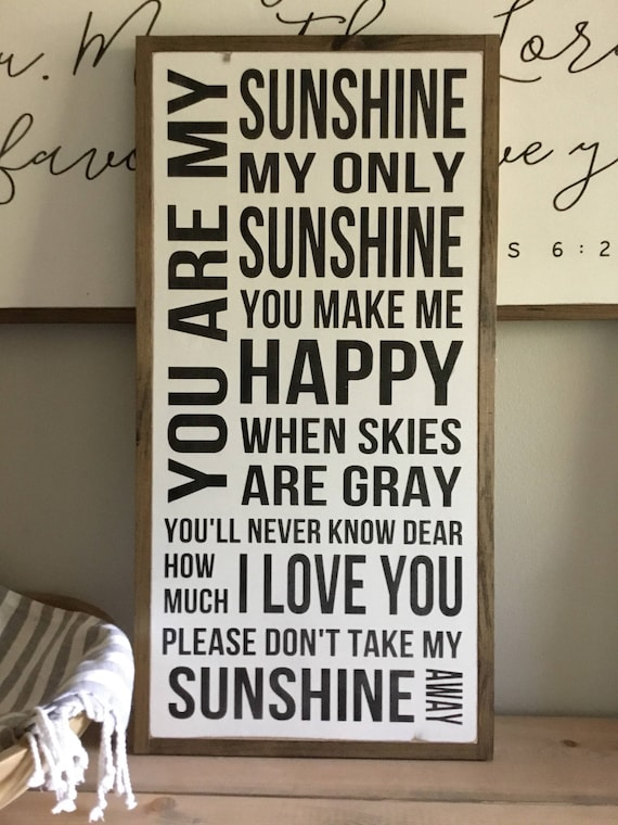 SUNSHINE SIGN 1'x2'   distressed wall decor   painted shabby chic wall plaque   urban industrial farmhouse sign   song art  