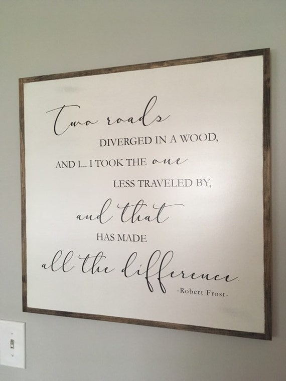 ROAD LESS TRAVELED 2'X2' sign | Robert Frost quote | distressed painted wooden wall plaque | shabby chic farmhouse decor | framed wall art