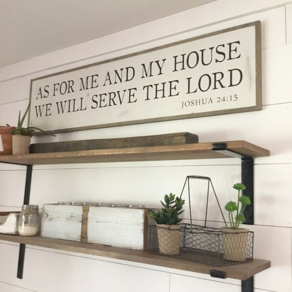 AS FOR Me And My House We Will Serve The Lord 1'X4' sign | distressed shabby chic painted wooden sign | painted wall art | Joshua