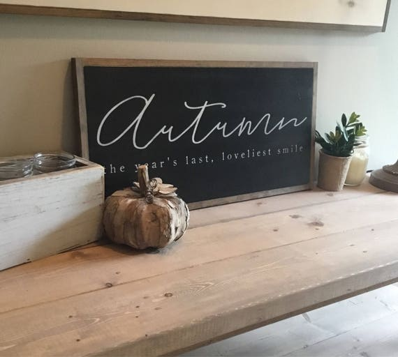 AUTUMN sign 1'X2' | rustic wall decor | distressed painted framed wooden sign | farmhouse inspired shabby chic |