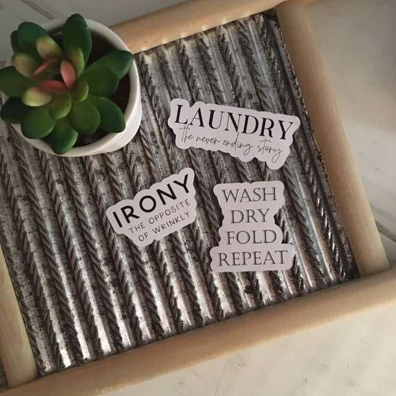 FARMHOUSE LAUNDRY STICKERS | scrapbook stickers | set of 3 | gift labels | fun farmhouse sticker pack | permanent sticker adhesive