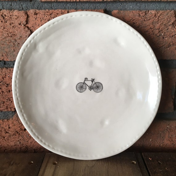 RAE DUNN bike plate (design 3) - dining plate - small dinner plate - pottery - handcrafted