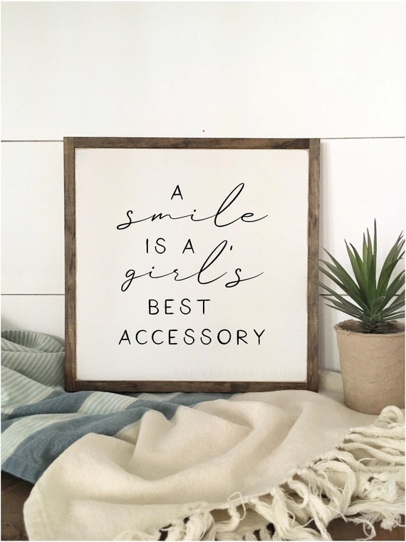 A SMILE IS a girls best accessory 1'X1' sign | distressed wooden sign | farmhouse decor | rustic bathroom art