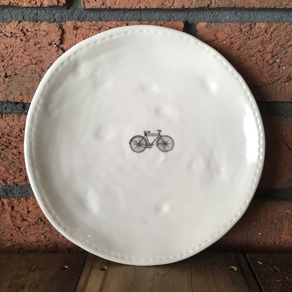 RAE DUNN bike plate (design 2) - dining plate - small dinner plate - pottery - handcrafted