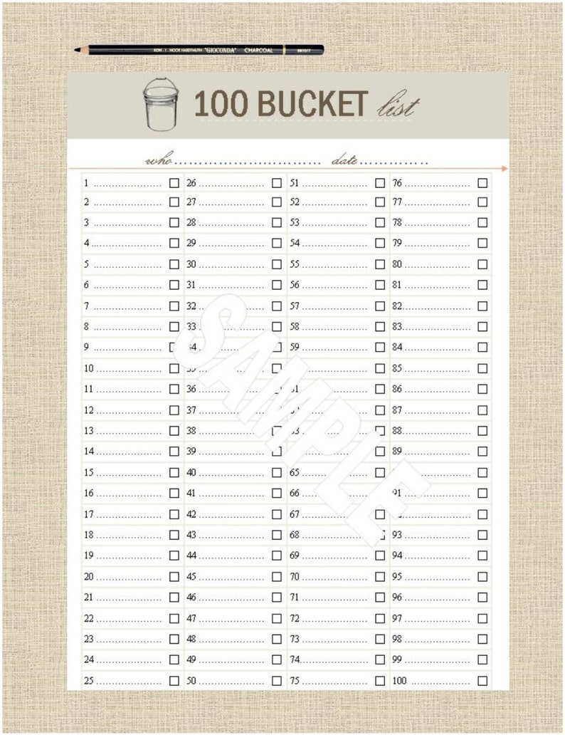 picture about Printable Lists named Lifes Lists Printable 100 Bucket Listing