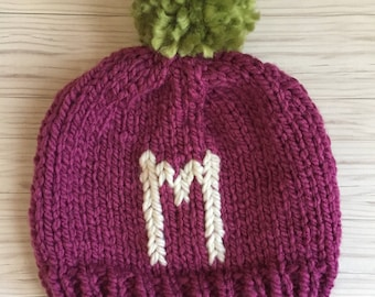 536c4b0a8ee Taupe Monogram knit hat baby hat toddler hat kid hat