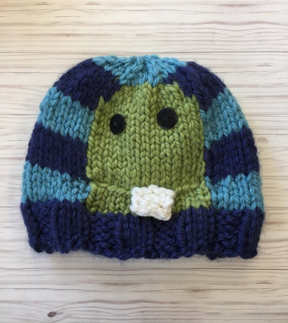 72698323a Monster navy/light blue/green kid toddler baby hat Baby Gift Newborn Hat  Beanie Hat boy Hand Knit Hat For boy Personalized Gift fall winter