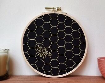"""Golden Honeycomb 6"""" Embroidery Hoop"""