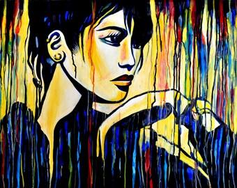 Asian girls, Fashion model, Anime inspired, Acrylic portrait, Model in yellow, FINE ART PRINT, Street art painting, wall art, Alex Solodov