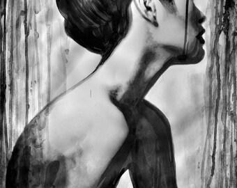 Japanese geisha nude, FINE ART PRINT from original sumi-e painting, Japanese geisha in profile, contemporary asian painting, Alex Solodov